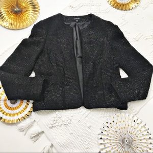 Saks Fifth Avenue Black Shimmer Tweed Blazer
